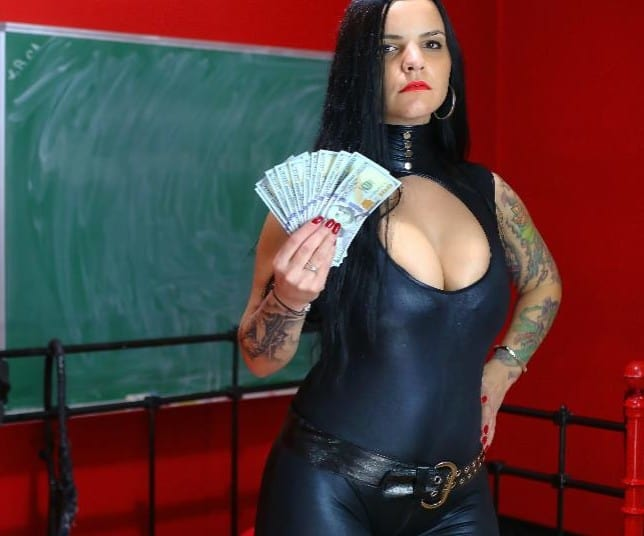 financial domina wearing pvc catsuit on live webcam