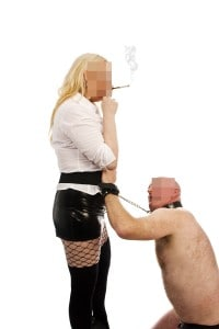 smoking fetish, cuffed slave, collared slaves